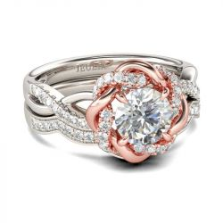 Jeulia Two Tone Twist Floral Round Cut Sterling Silver Ring Set