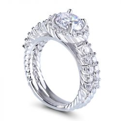 Jeulia Braided Round Cut Sterling Silver Ring Set
