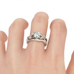 Jeulia Nature Inspired Round Cut Sterling Silver Ring Set