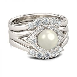 Jeulia Halo Faux Pearl Sterling Silver 3PC Ring Set