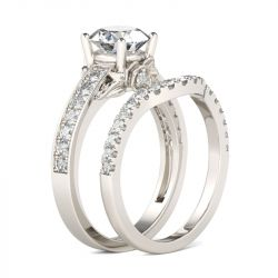 Jeulia Simple Round Cut Sterling Silver Ring Set