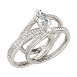 Jeulia Interchangeable  Marquise Cut Sterling Silver Ring Set