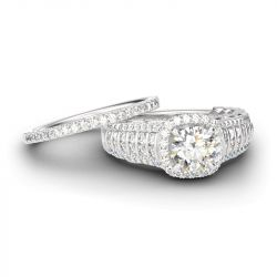 Jeulia Sparkling Halo Round Cut Sterling Silver Ring Set