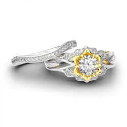 Jeulia Flower Round Cut Sterling Silver Ring Set