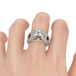 Jeulia Cathedral Princess Cut Sterling Silver Women's Ring