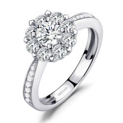Jeulia Floral Halo Cluster Round Cut Sterling Silver Ring
