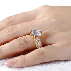 Jeulia Gold Tone Emerald Cut Sterling Silver Ring