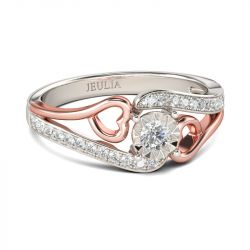 Jeulia Bypass Heart Design Round Cut Sterling Silver Ring