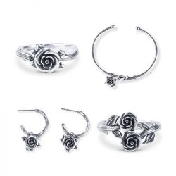 Jeulia Romantic Rose Sterling Silver jewelry Set