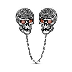 Jeulia Black Skull Sterling Silver Jewelry Set