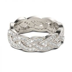 Jeulia Interwoven Round Cut Sterling Silver Women's Band