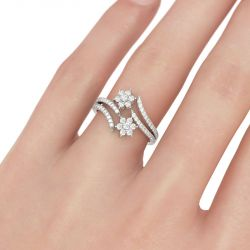 Jeulia Bypass Floral Round Cut Sterling Silver Ring