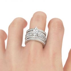 Jeulia 3PC Marquise Cut Sterling Silver Ring Set