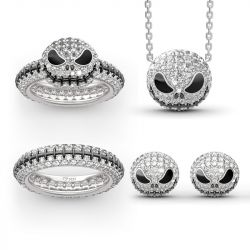 "Jeulia ""Pumpkin King"" Skull Sterling Silver Jewelry Set"