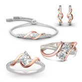 """Jeulia """"An Encounter with Myself"""" Two Tone Sterling Silver Jewelry Set"""