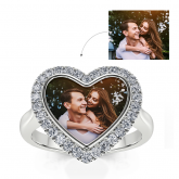 """Jeulia """"Ever Us"""" Sterling Silver Personalized Photo Ring"""