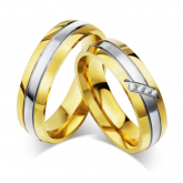 Jeulia Two Tone Titanium Steel Couple Rings