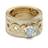 Jeulia Gold Tone Milgrain Round Cut Sterling Silver Ring Set