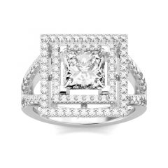 Jeulia Double Halo Princess Cut Sterling Silver Ring