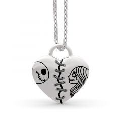 Jeulia Jack Skellington and Sally Sterling Silver Necklace