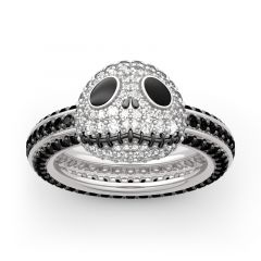 "Jeulia ""Halloween Fun"" Skull Design Sterling Silver Ring"