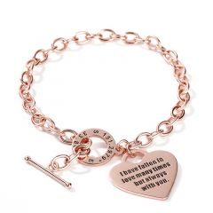 Jeulia Heart Personalized Sterling Silver Bracelet