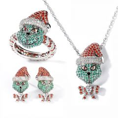 """Jeulia """"Holiday Cheermeister"""" Christmas Monster Inspired Sterling Silver Jewelry Set"""