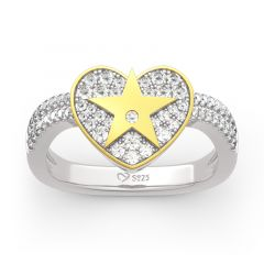"""Jeulia """"A Star Is Born"""" Sterling Silver Heart Ring"""