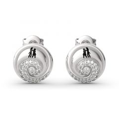 "Jeulia ""Romance in the Moonlight"" Skull Couple Sterling Silver Earrings"