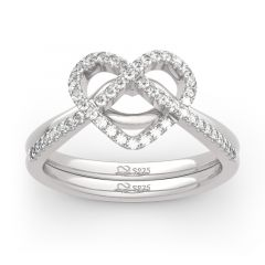 """Jeulia """"Now&Forever"""" Twist Heart Sterling Silver Ring Set"""