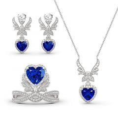 """Jeulia """"Forever By My Side"""" Angel Wing Heart Cut Sterling Silver Jewelry Set"""