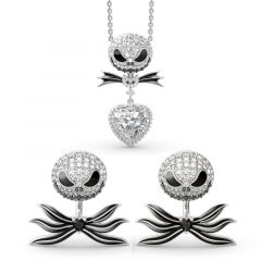Jeulia The Nightmare Before Christmas Jack Skellington Sterling Silver Jewelry Set
