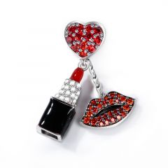 """""""Enthusiasm"""" Red Stone Lipstick Charm With Red Lips Sterling Silver Pendant"""