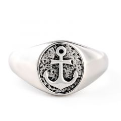 "Jeulia ""Navy Anchor"" Sterling Silver Men's Ring"