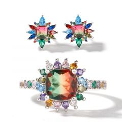 """Jeulia """"Blazing with Color"""" Sterling Silver Jewelry Set"""