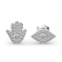 "Jeulia ""Hamsa and Evil Eye"" Asymmetric Sterling Silver Stud Earrings"
