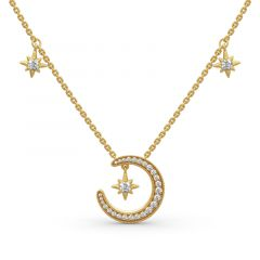"""Jeulia """"Moon and Star"""" Round Cut Sterling Silver Necklace"""