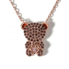 "Jeulia ""Look At Me"" Bear Design Sterling Silver Necklace"