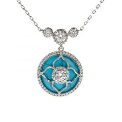 "Jeulia ""Lucky Choice"" Flower Turquoise Sterling Silver Necklace"