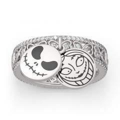 "Jeulia ""Bizarre Love"" Skull Couple Twist Sterling Silver Ring"