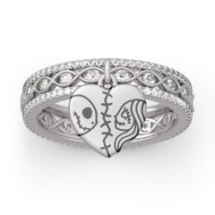 "Jeulia ""Magic of Love"" Skull Couple Twist Sterling Silver Ring"