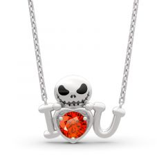 """Jeulia """"Love from Pumpkin King"""" Skull Design Round Cut Sterling Silver Necklace"""