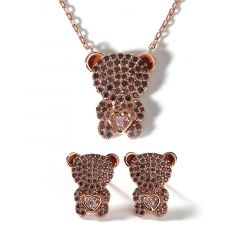 """Jeulia """"Look At Me"""" Bear Design Sterling Silver Jewelry Set"""