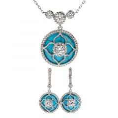"Jeulia ""Lucky Choice"" Flower Turquoise Sterling Sliver Jewelry Set"