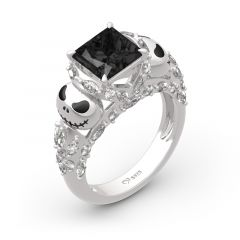 "Jeulia ""Romantic Soul"" Skull Design Princess Cut Sterling Silver Ring"