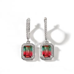 "Jeulia ""One of a Kind"" Emerald Cut Sterling Silver Watermelon Earrings"