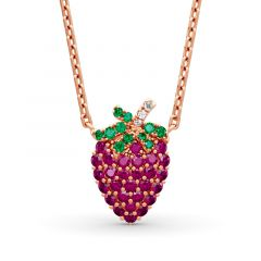 "Jeulia ""Summer Fruit"" Strawberry Design Sterling Silver Necklace"