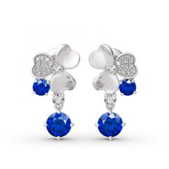 """Jeulia """"Real Lucky"""" Clover Design Sterling Silver Drop Earrings"""