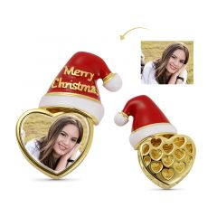 Christmas Hat with Heart-shaped Personalized Photo Charm Bead 925 Sterling Silver 18k Gold Plated