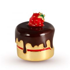 Strawberry Chocolate Cake Charm Bead Sterling Silver 18k Gold Plated